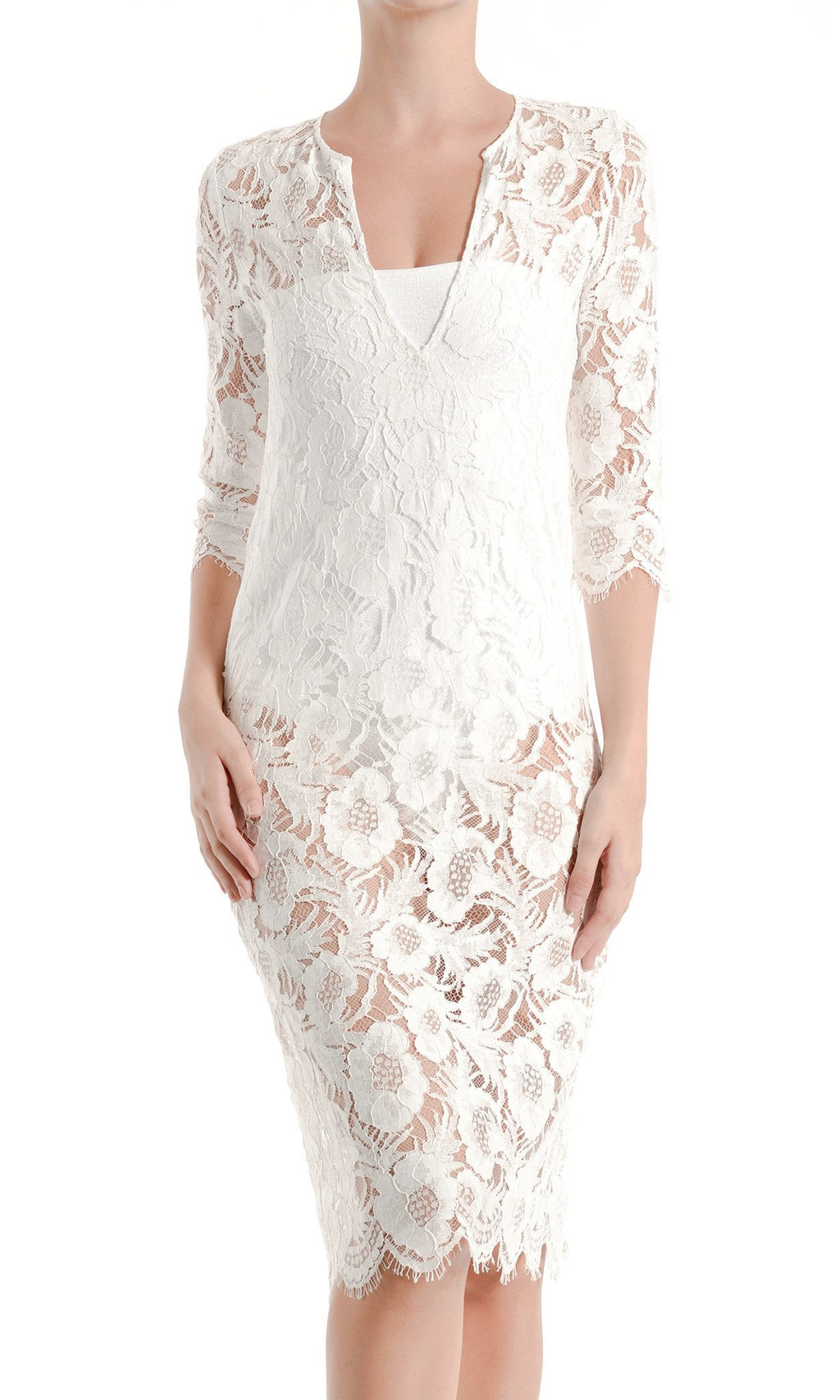 French Lace Midi Dress Marie France Van Damme 0 White
