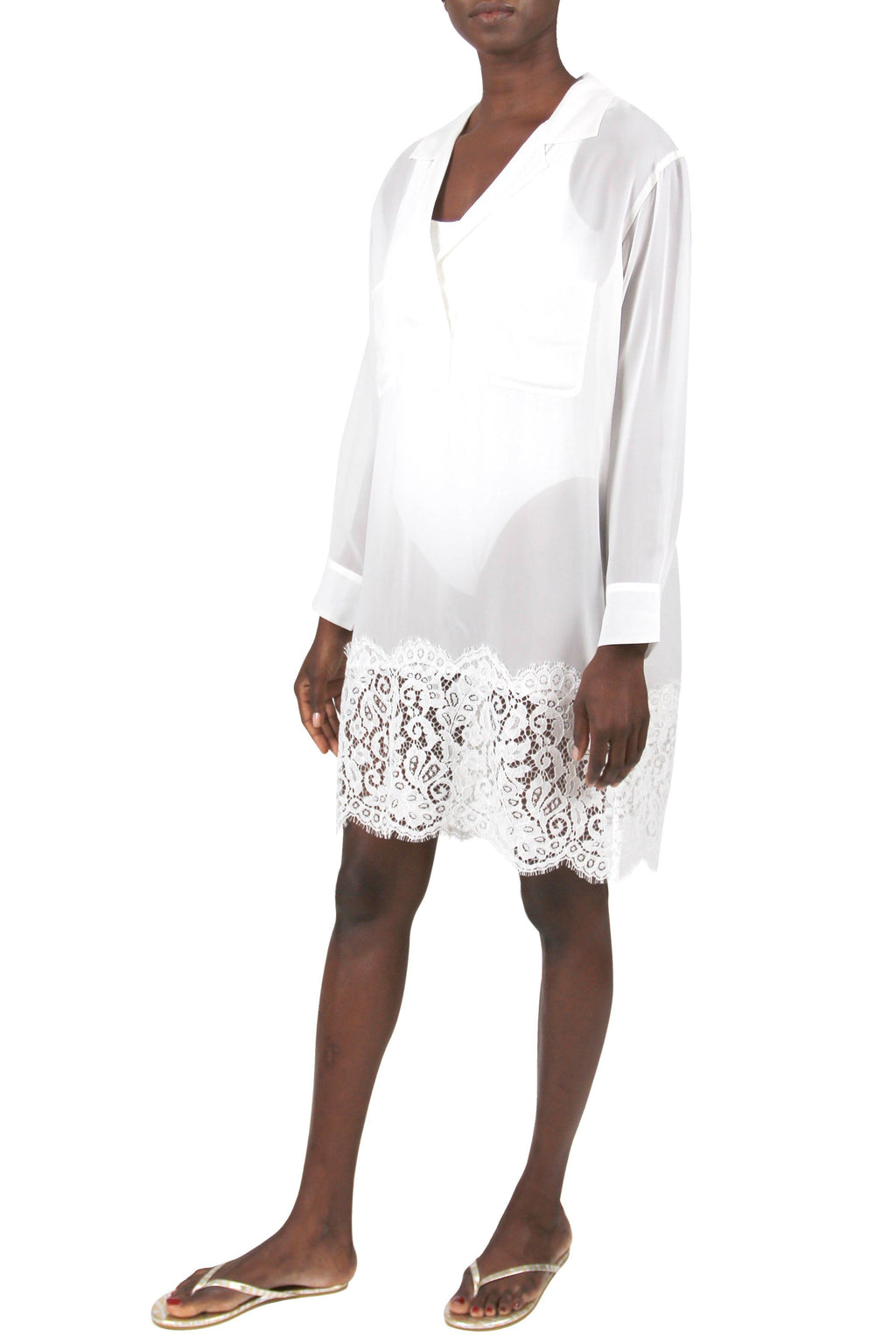 French Lace Oversized Shirt Tops Marie France Van Damme 0/1 Pure White