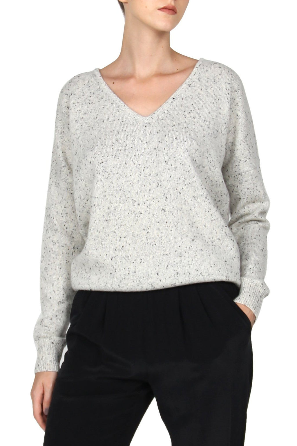 Frost Cashmere V Neck Sweater Marie France Van Damme 0/1 Frost