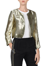 Gold Metallic Lurex Jacket Marie France Van Damme 0 Gold