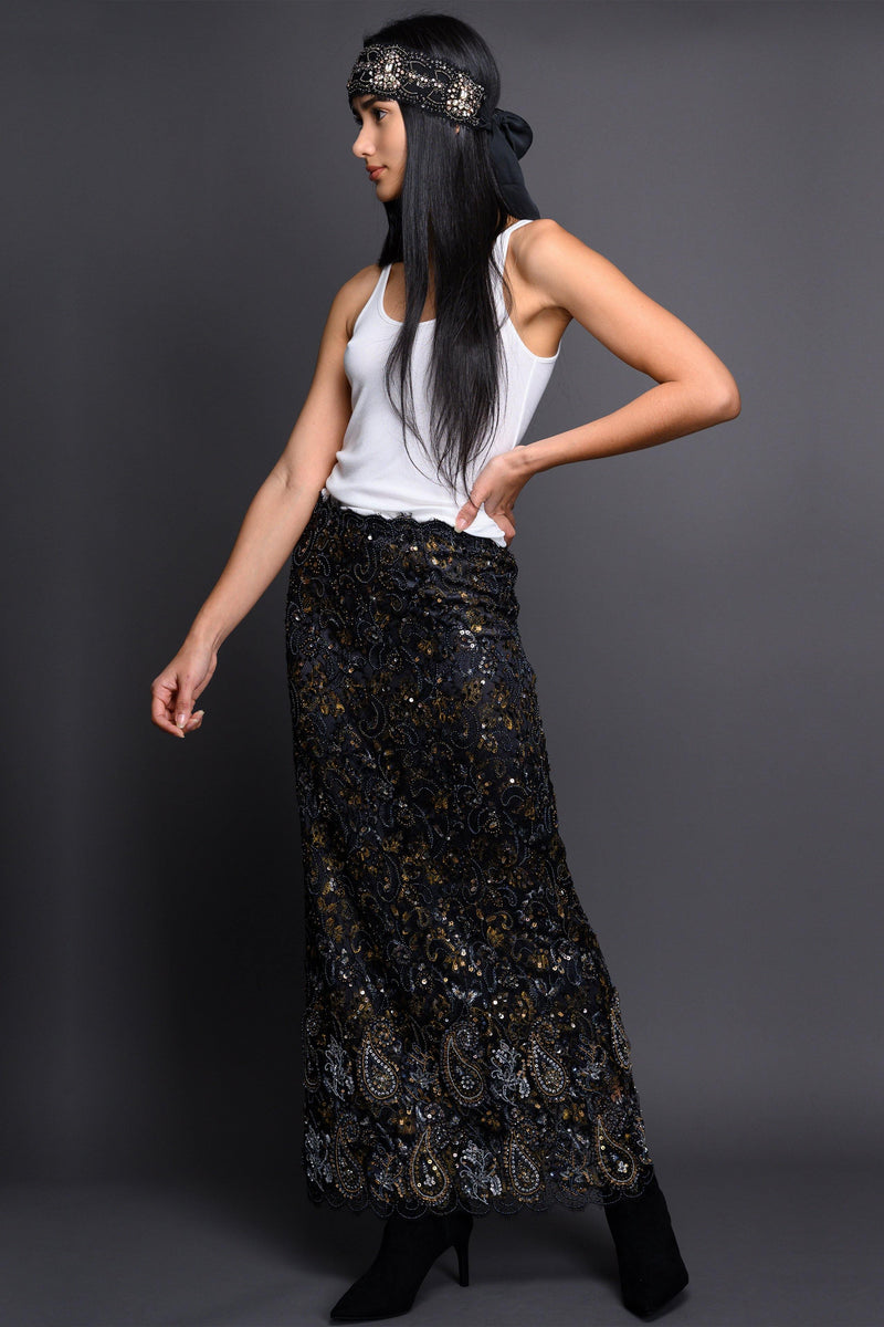 Hand Embroidered Skirt Marie France Van Damme 1 Black