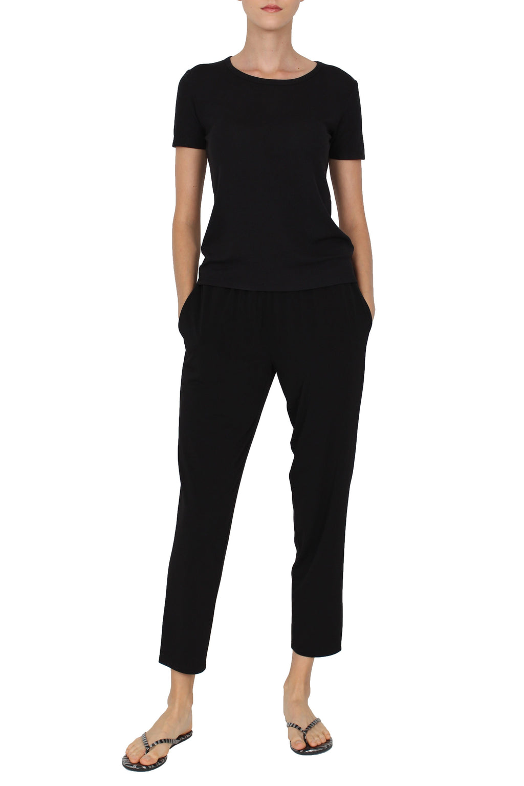 Jersey Cropped Pants Pants Marie France Van Damme Black 0