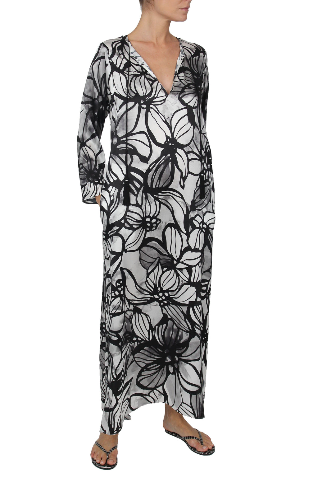 Long Hammer Dress Caftans Marie France Van Damme 0 Hibiscus White Black