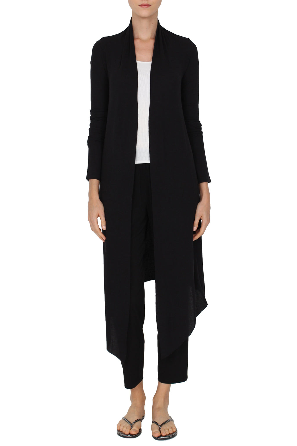 Long Silk Blend Michi Cardigan Knitwear Marie France Van Damme Black One Size