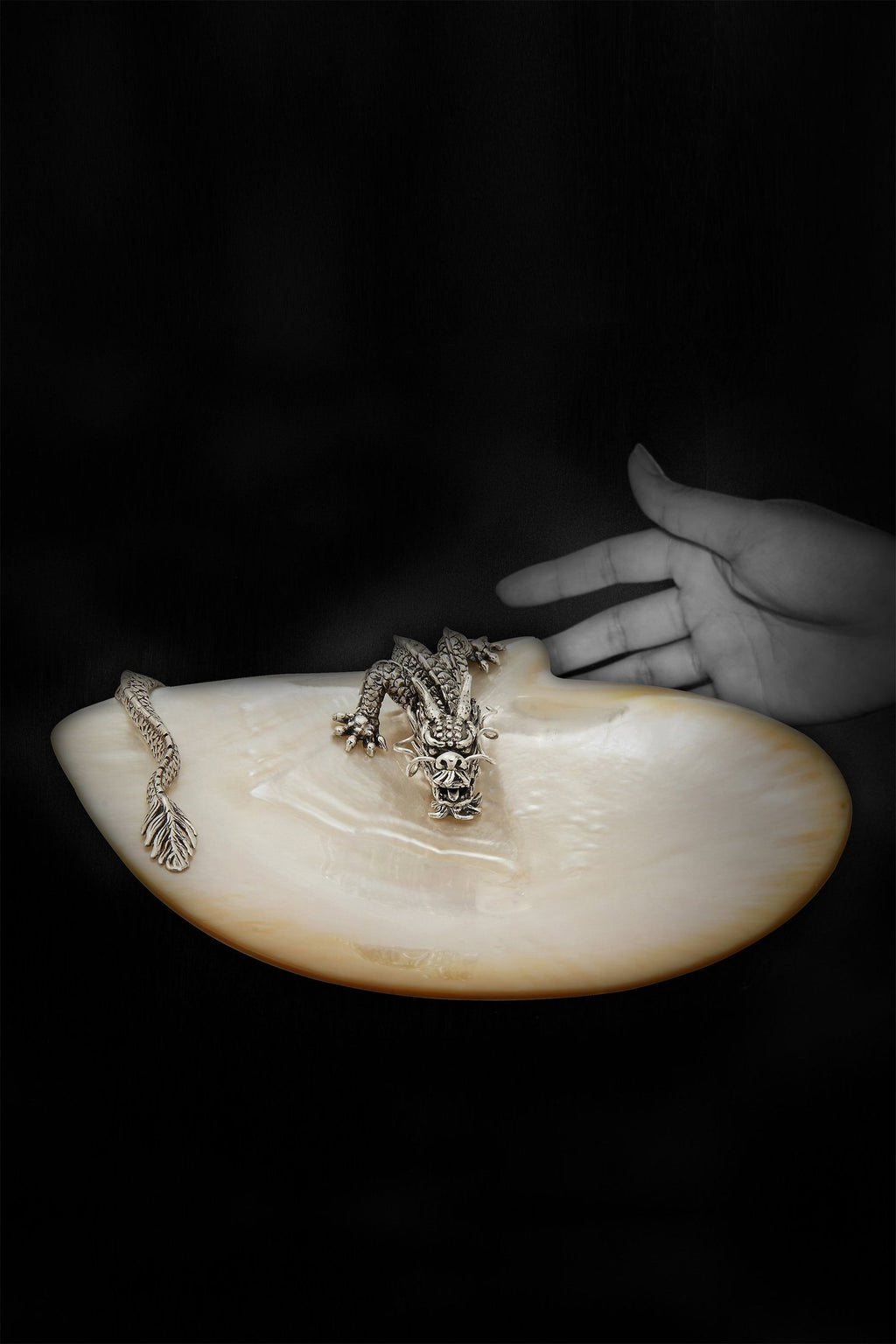 LOTUS | Mother of Pearl Plate with Swirling Dragon Marie France Van Damme