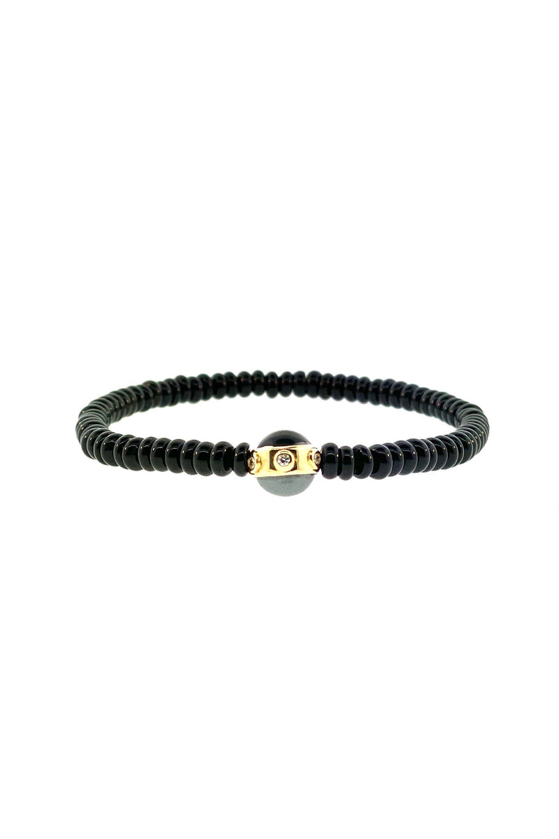 LUIS MORAIS | Gold Collar White Diamonds, Onyx and Hematite Cabachons on Gemstone Beaded Bracelet Marie France Van Damme