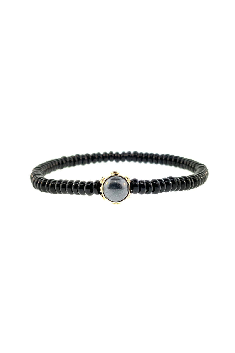 LUIS MORAIS | Gold Collar White Diamonds, Onyx and Hematite Cabachons on Gemstone Beaded Bracelet Marie France Van Damme Women's 6.5