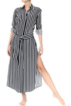 Maxi Button Down Dress Dresses Marie France Van Damme 0 New Black White Stripes