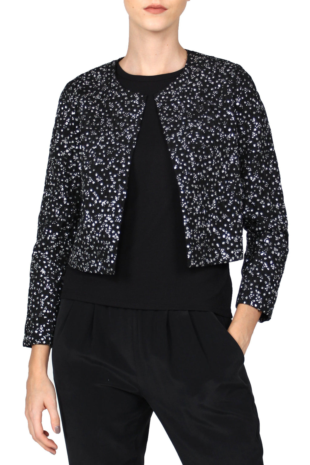 Metallic Dot Motif Jacket Outerwear Marie France Van Damme 0 Black Silver