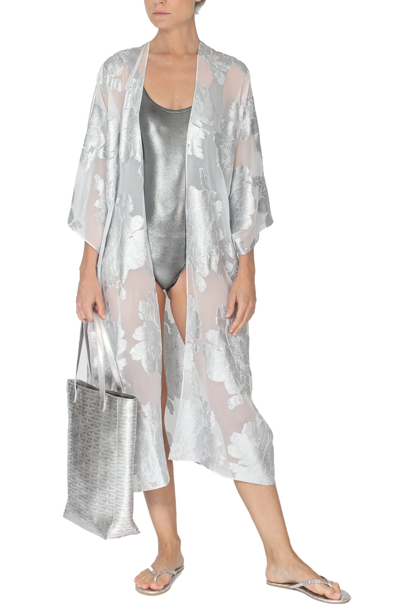 Metallic Flower Babani Cover Up Cover Ups Marie France Van Damme One Size White Silver