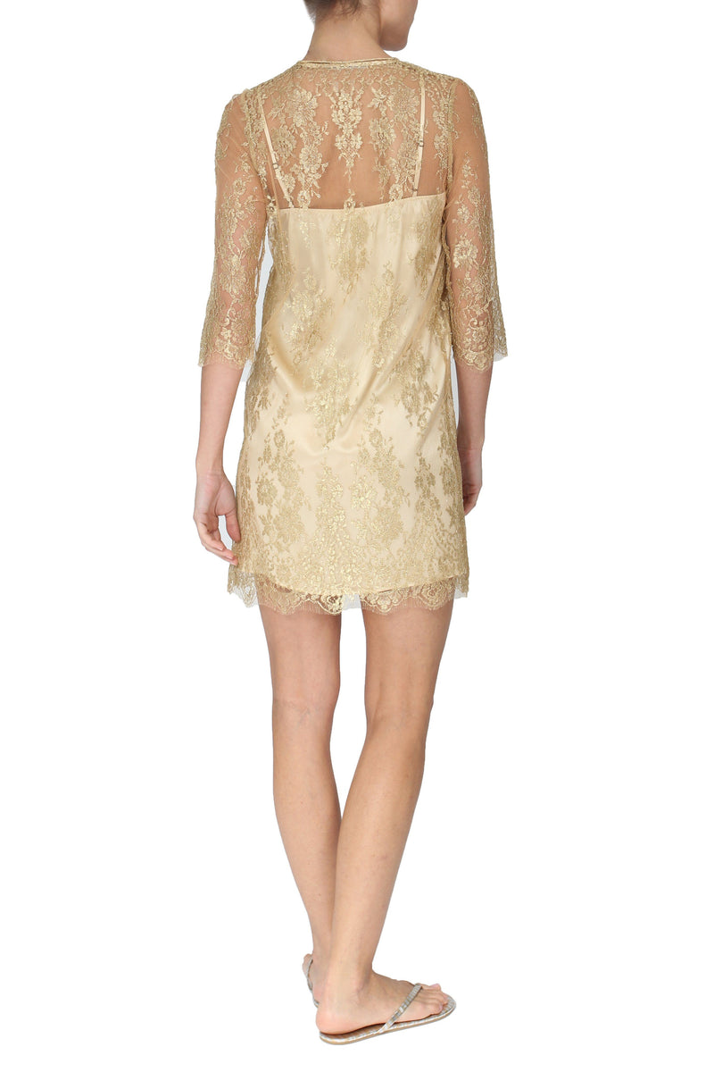 Metallic French Lace Hammer Kurta Dress Marie France Van Damme