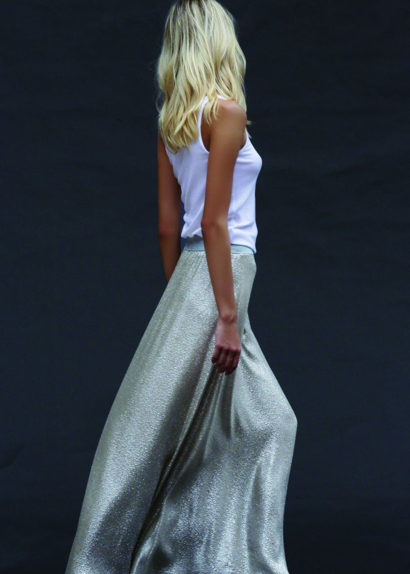 Metallic Silk Blend A Line Skirt Skirts Marie France Van Damme