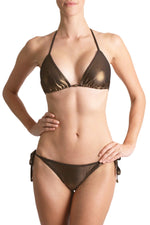 Metallic Sleek Triangle Bikini Swimwear Marie France Van Damme Bronze 0