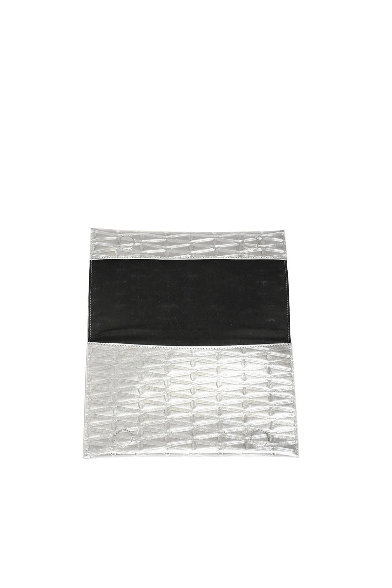 Monogram Metallic Leather Clutch Accessories Marie France Van Damme