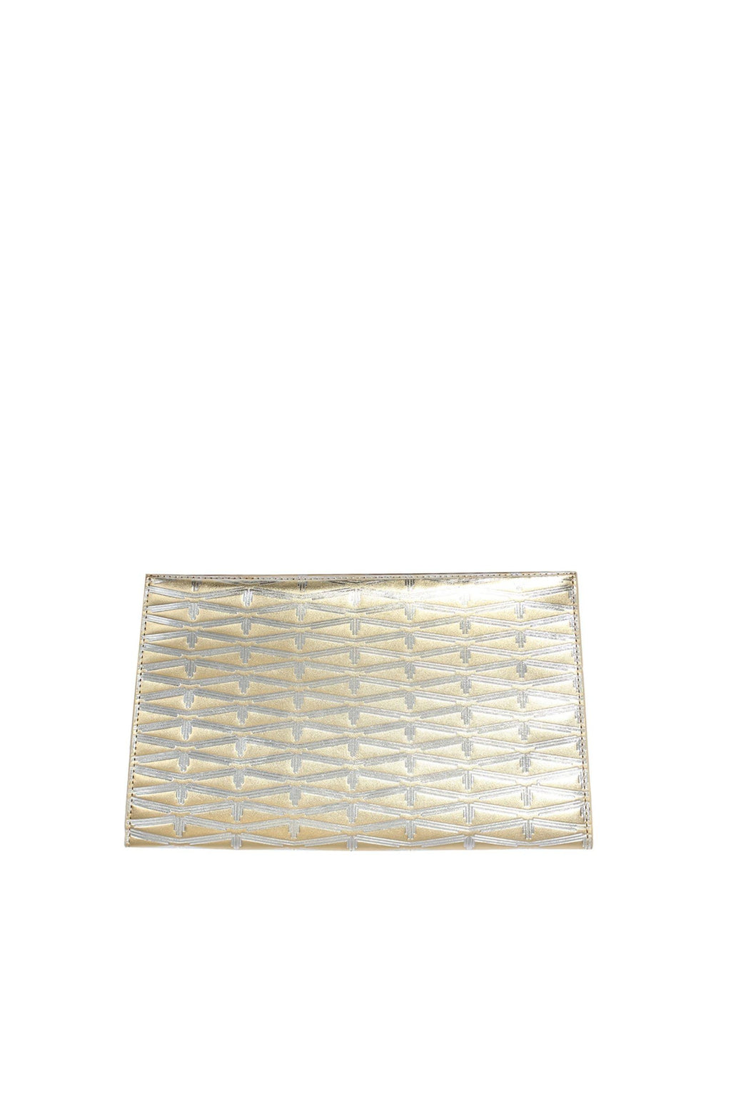 Monogram Metallic Leather Clutch Accessories Marie France Van Damme Gold/Silver