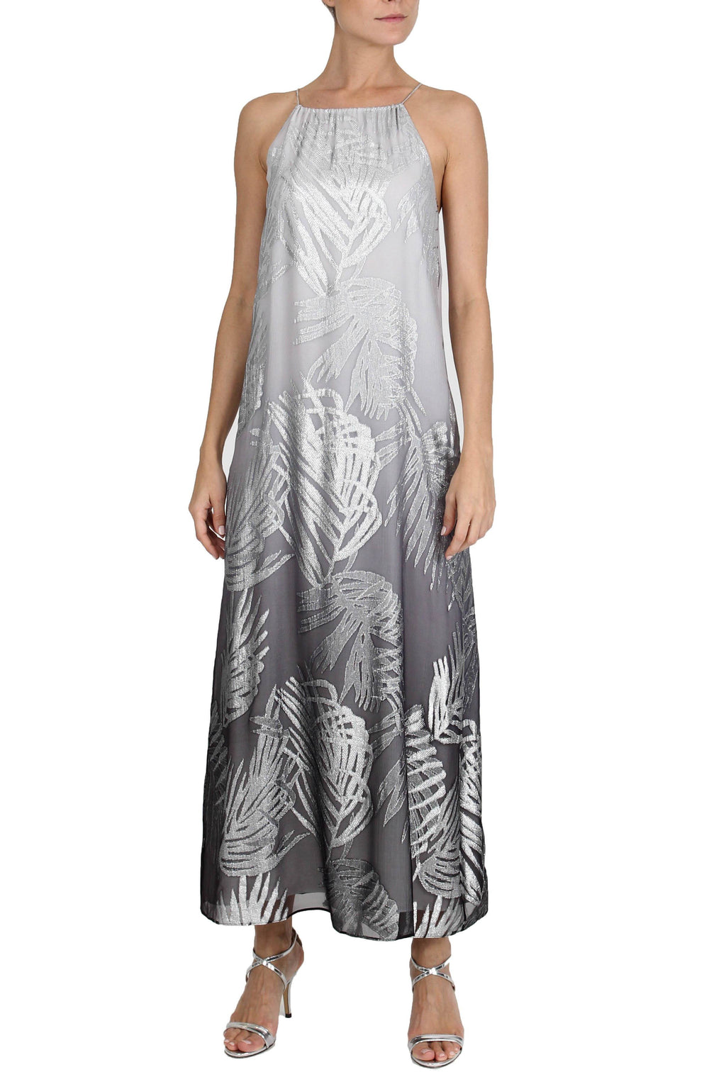 Ombre Palm Racer Back Long Dress Dresses Marie France Van Damme 0 Silver Ombre