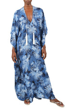 Palm Boubou with Tassels Marie France Van Damme One Size Blue Palm