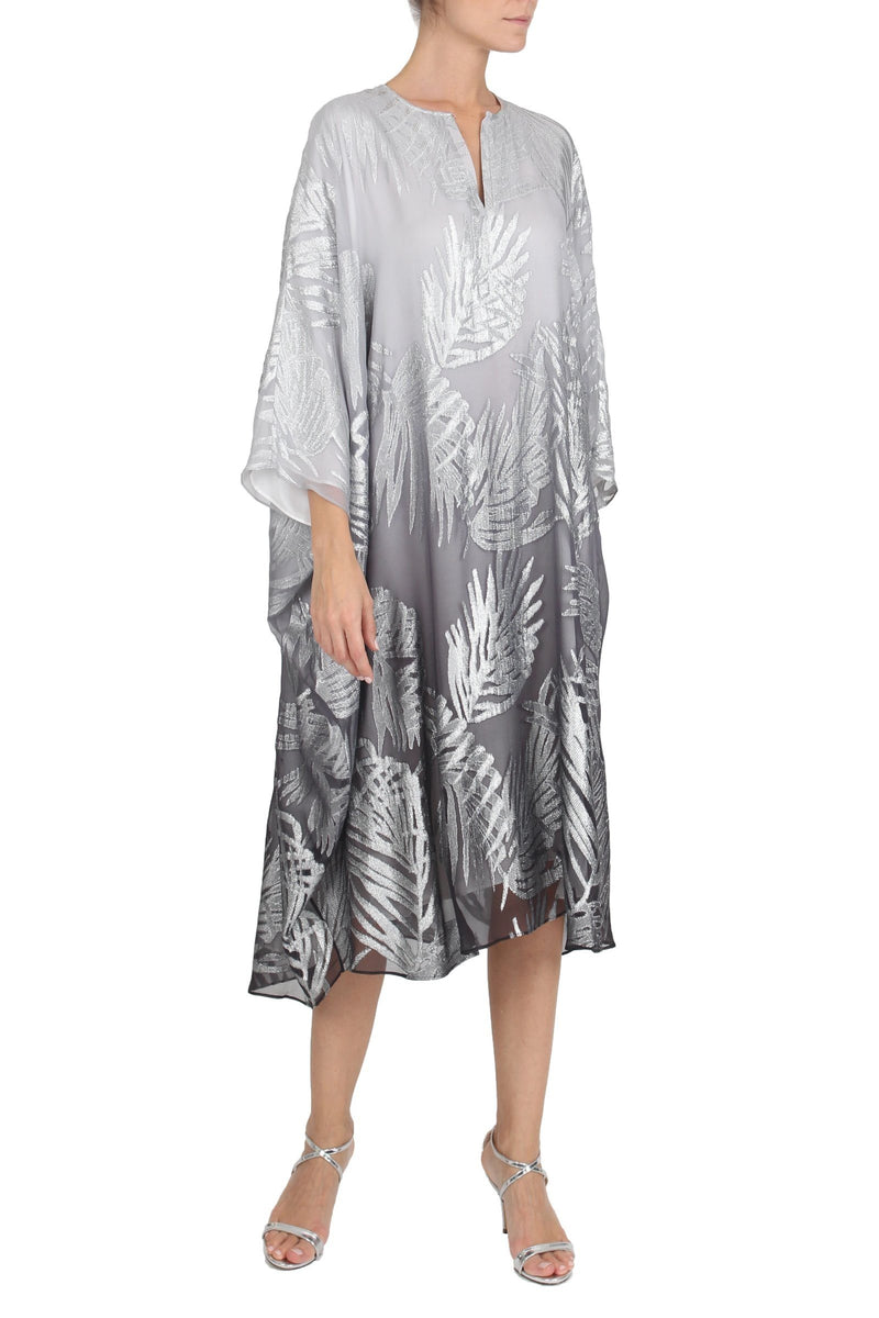 Palm Midi Metallic Boubou Caftans Marie France Van Damme One Size Silver Ombre