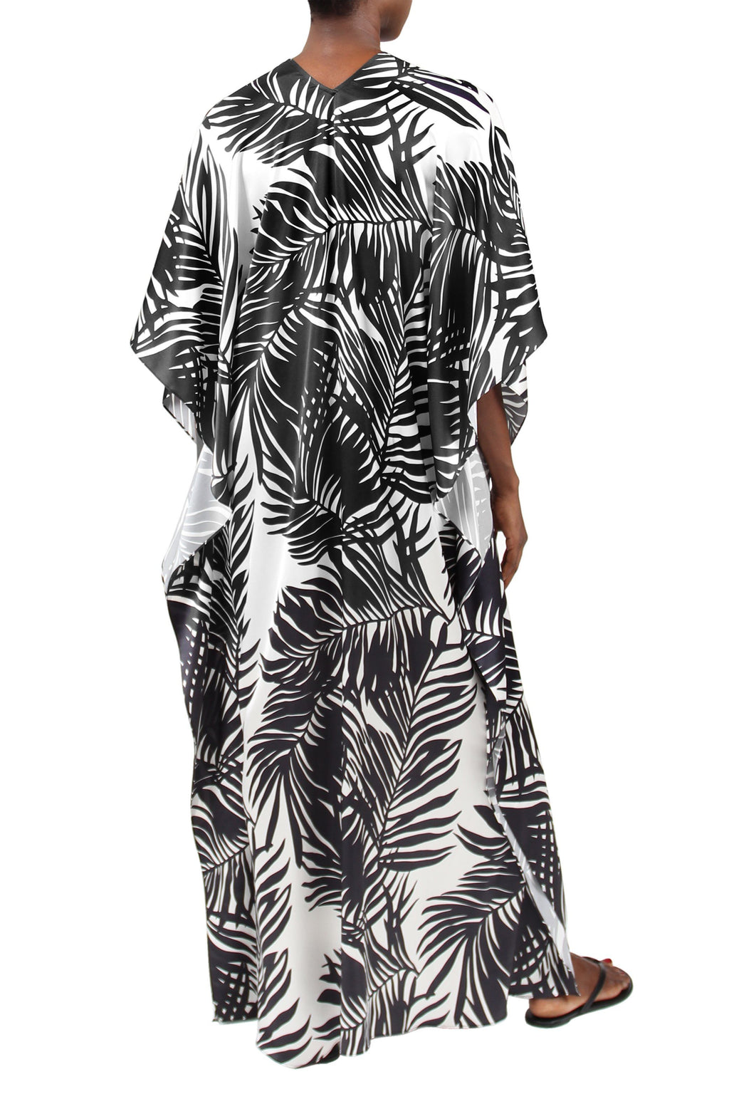 Palm Printed Silk Boubou Marie France Van Damme