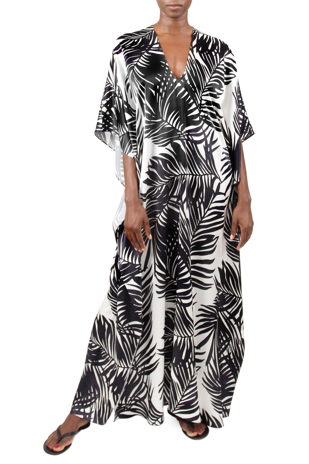 Palm Printed Silk Boubou Marie France Van Damme One Size White Black Palm