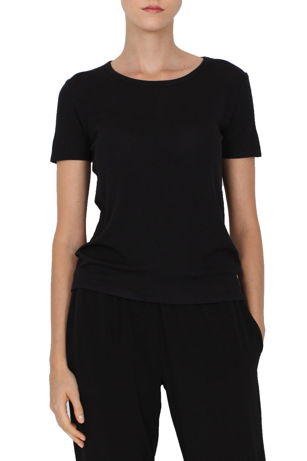 Ribbed Crew Neck Tee Marie France Van Damme 0/1 Black