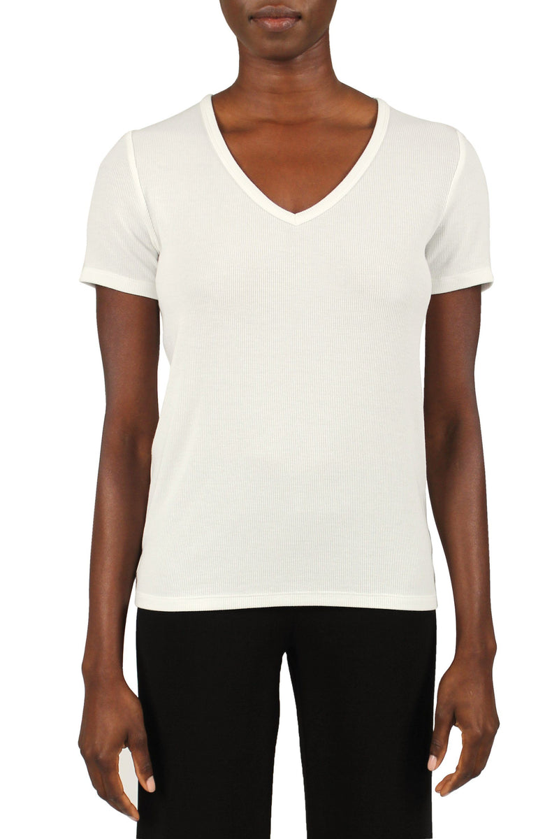 Ribbed V-Neck Tee Marie France Van Damme 0/1 Off White