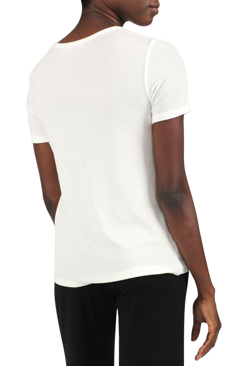Ribbed V-Neck Tee Marie France Van Damme