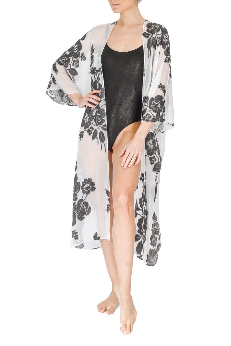 Rose Babani Cover Up Marie France Van Damme One Size White Black