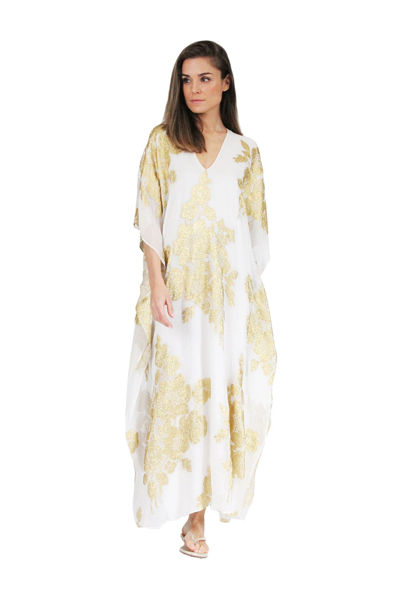 Rose Flower Metallic Boubou Caftans Marie France Van Damme