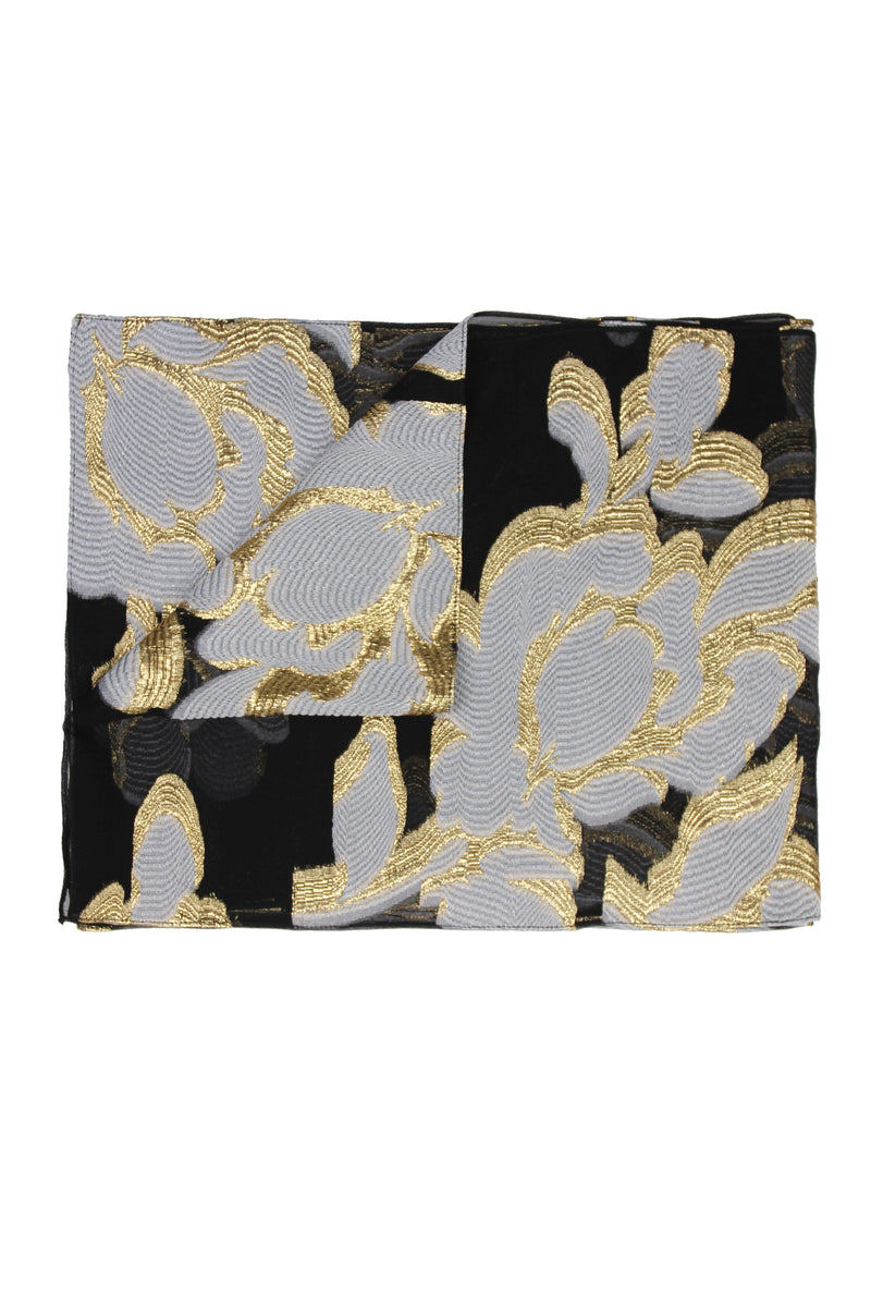 Rose Scarf Marie France Van Damme One Size Black Gold White