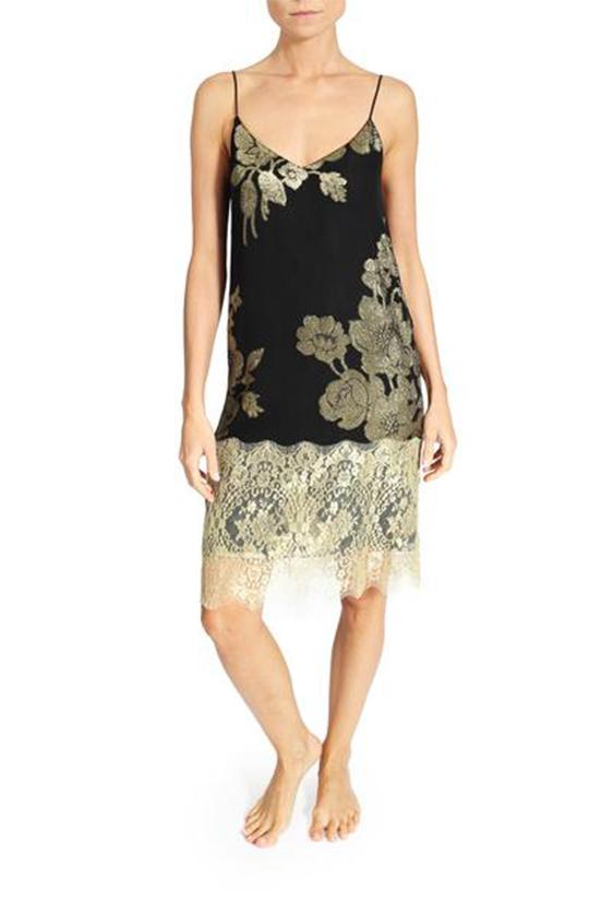 Rose Short Dress with Lace Marie France Van Damme 0 Black Gold