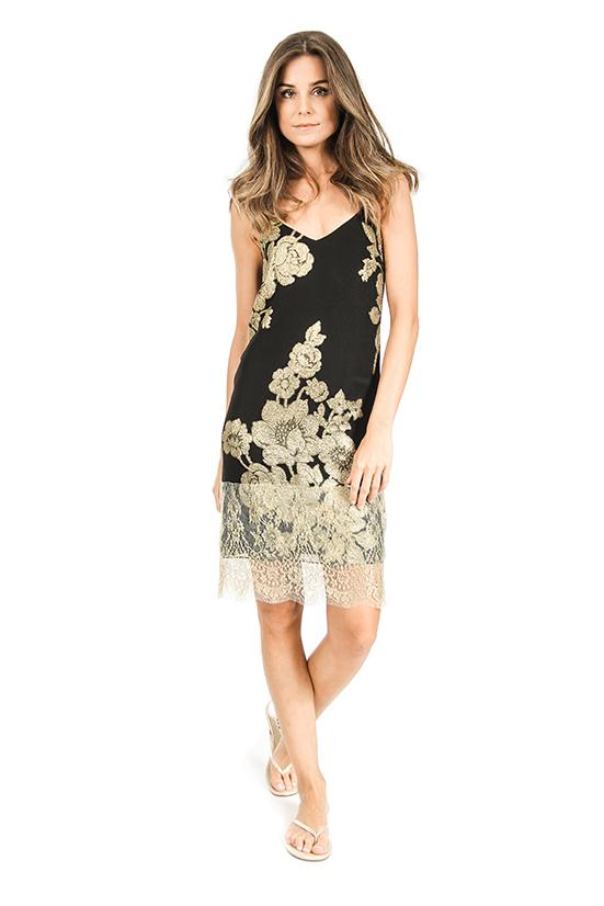 Rose Short Dress with Lace Marie France Van Damme