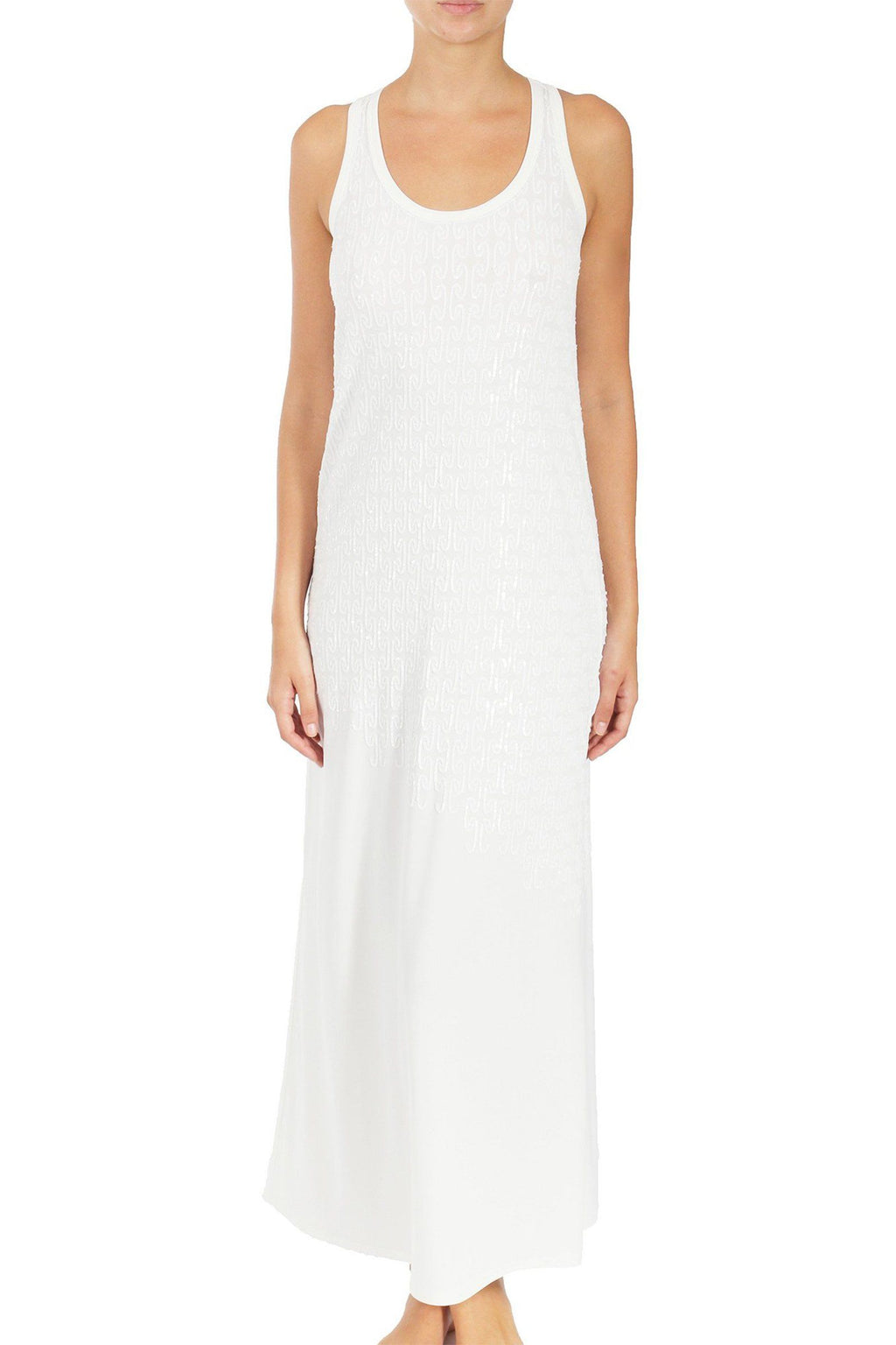Sequined Racer Back Jersey Dress Dresses Marie France Van Damme White 0