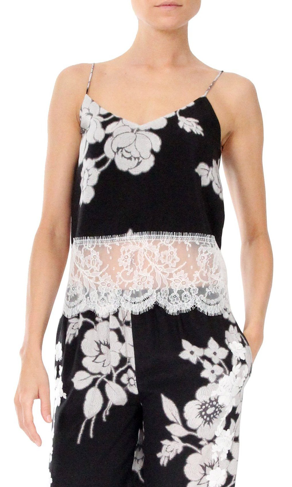 Short Cami with Lace Marie France Van Damme 0 Black White Rose