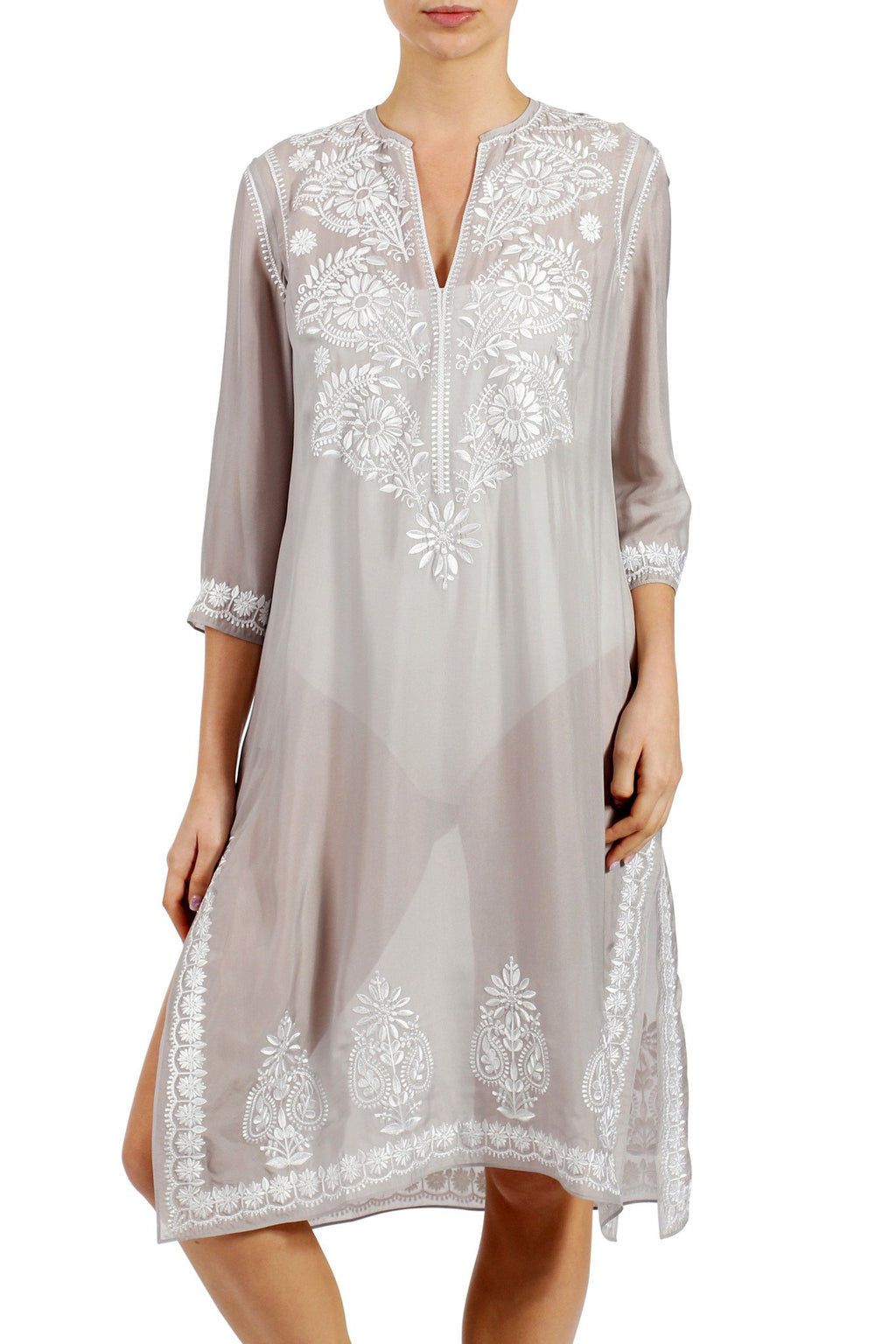 Silk Embroidered Midi Length Tunic Tunics Marie France Van Damme Silver White 0