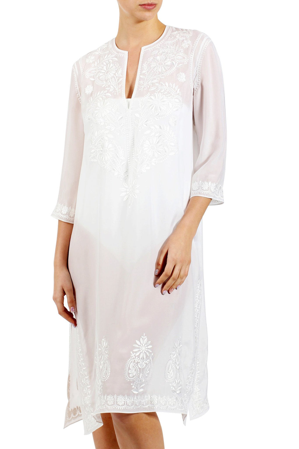 Silk Embroidered Midi Length Tunic Tunics Marie France Van Damme White 0