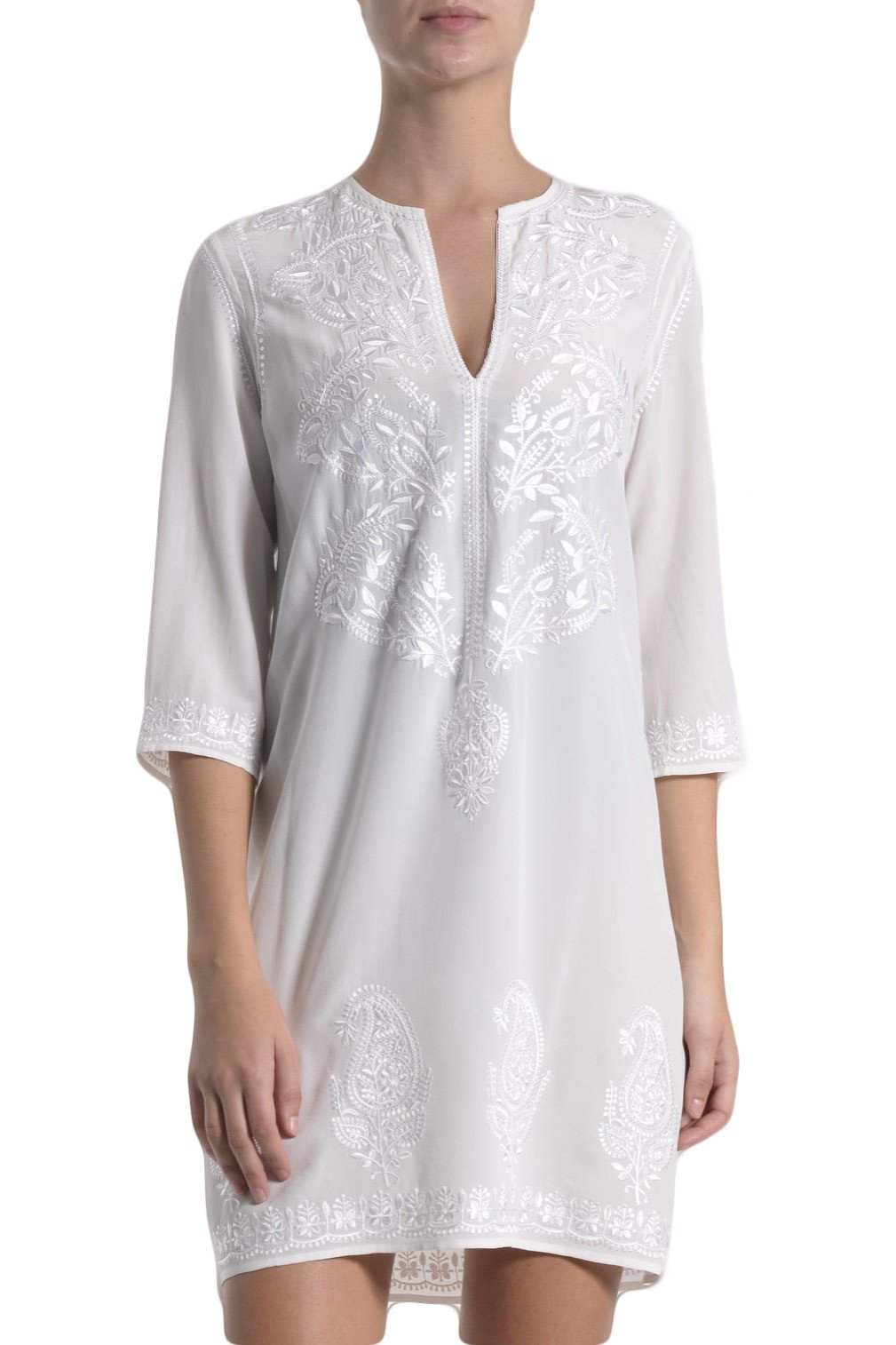 Silk Embroidered Short Crepe Dress Marie France Van Damme