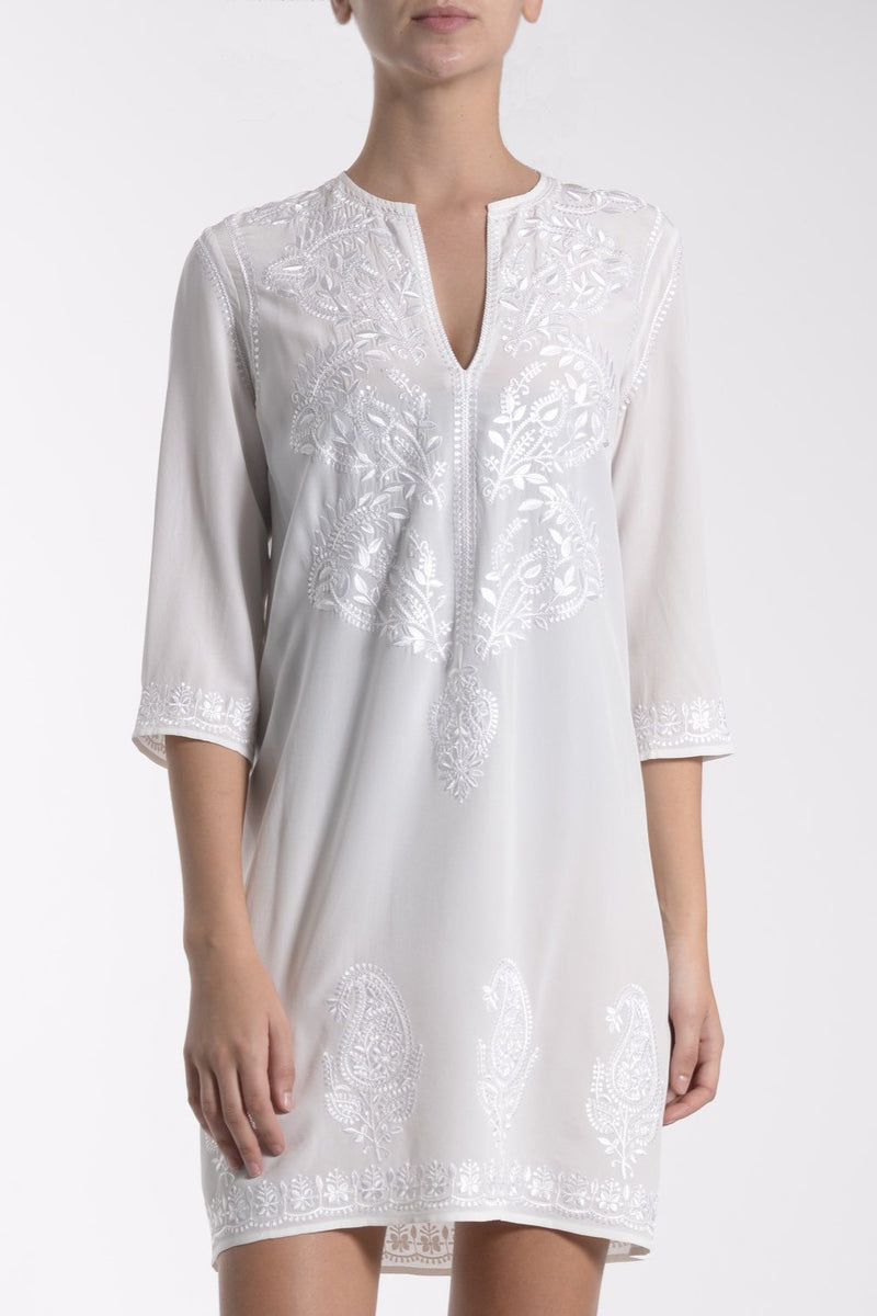 Silk Embroidered Short Crepe Dress Marie France Van Damme White 0