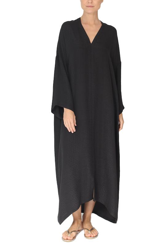 Silk Long Sleeve Croco Jacquard Boubou Marie France Van Damme One Size Black