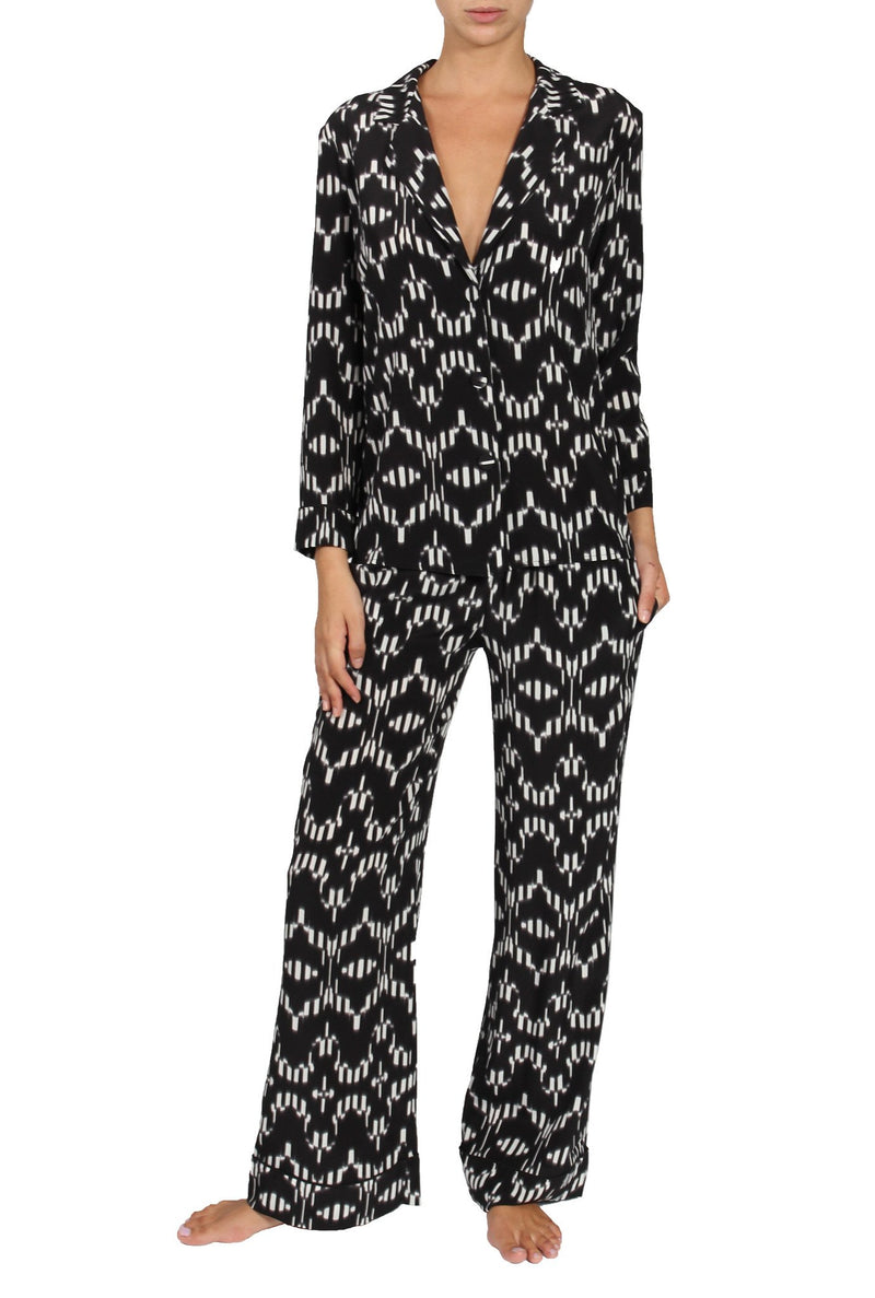 Silk Printed City Pajama City Pyjamas Marie France Van Damme Alta Black White 0