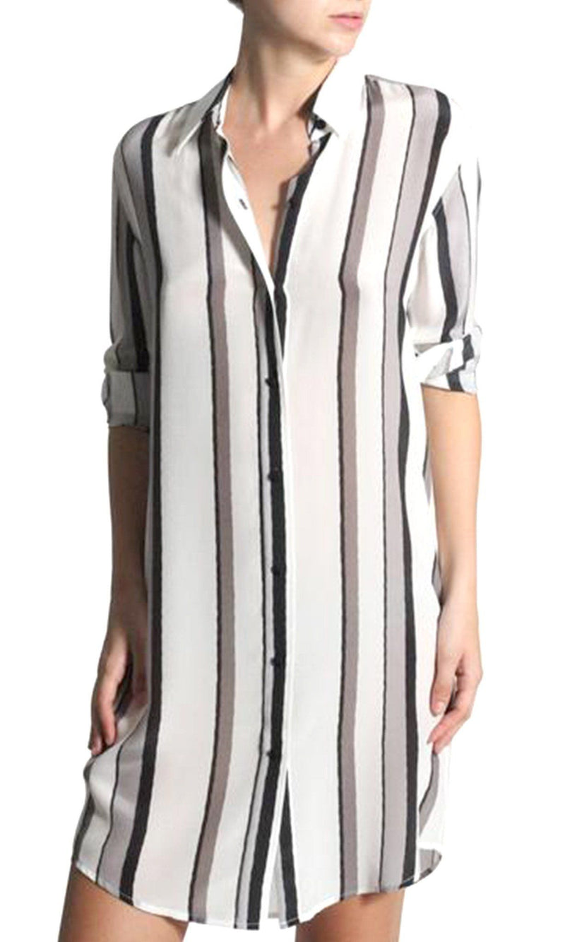 Silk Printed Midi Shirt Dress Dresses Marie France Van Damme 0 Silver Stripe