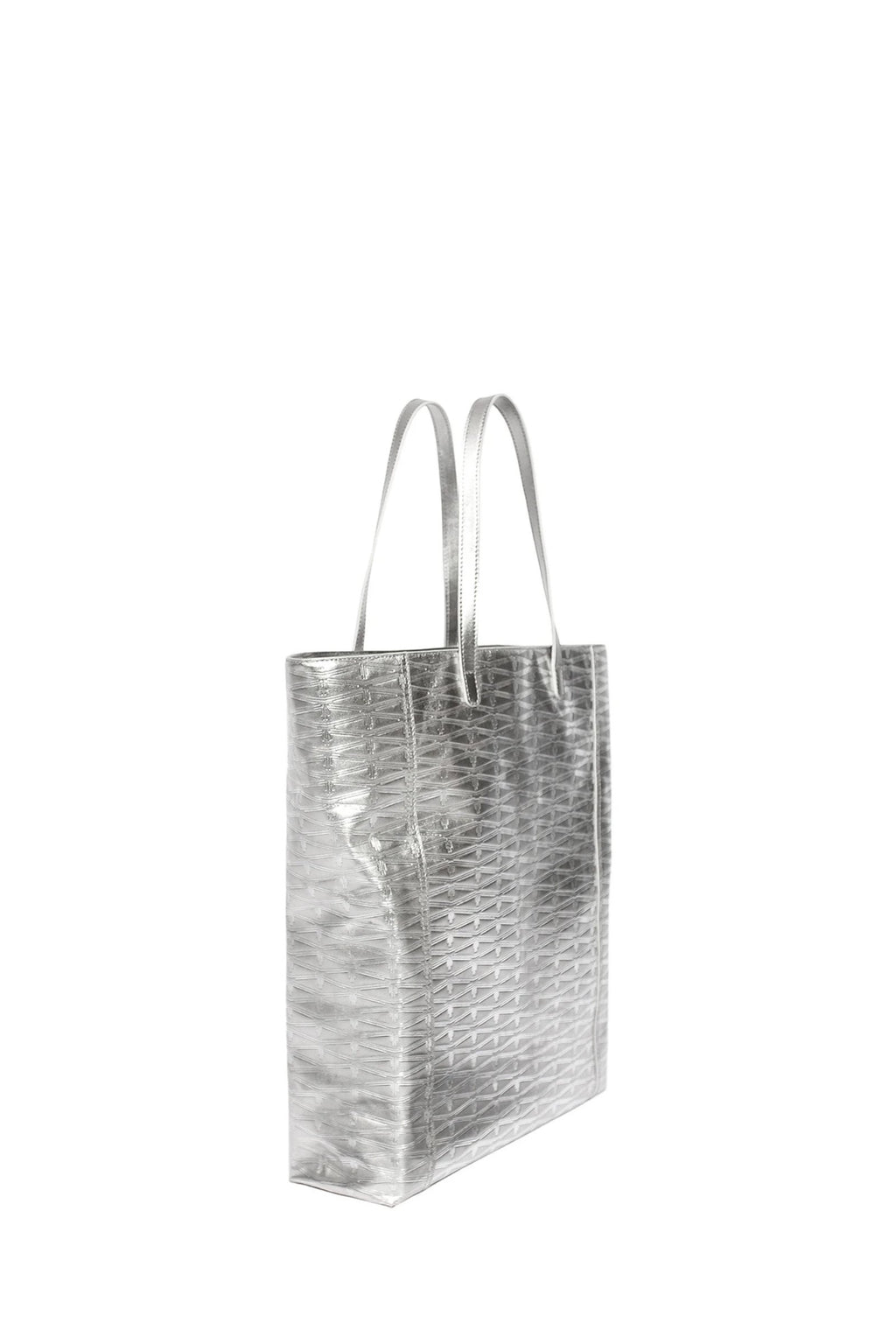 Silver Monogram Large Leather Tote Accessories Marie France Van Damme