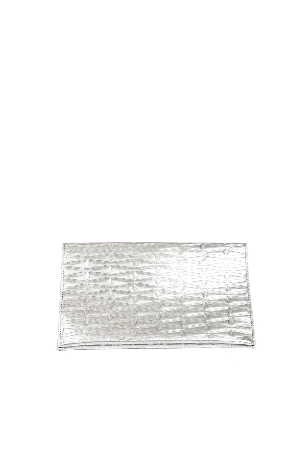 Silver Monogram Metallic Leather Clutch Accessories Marie France Van Damme Silver/Silver