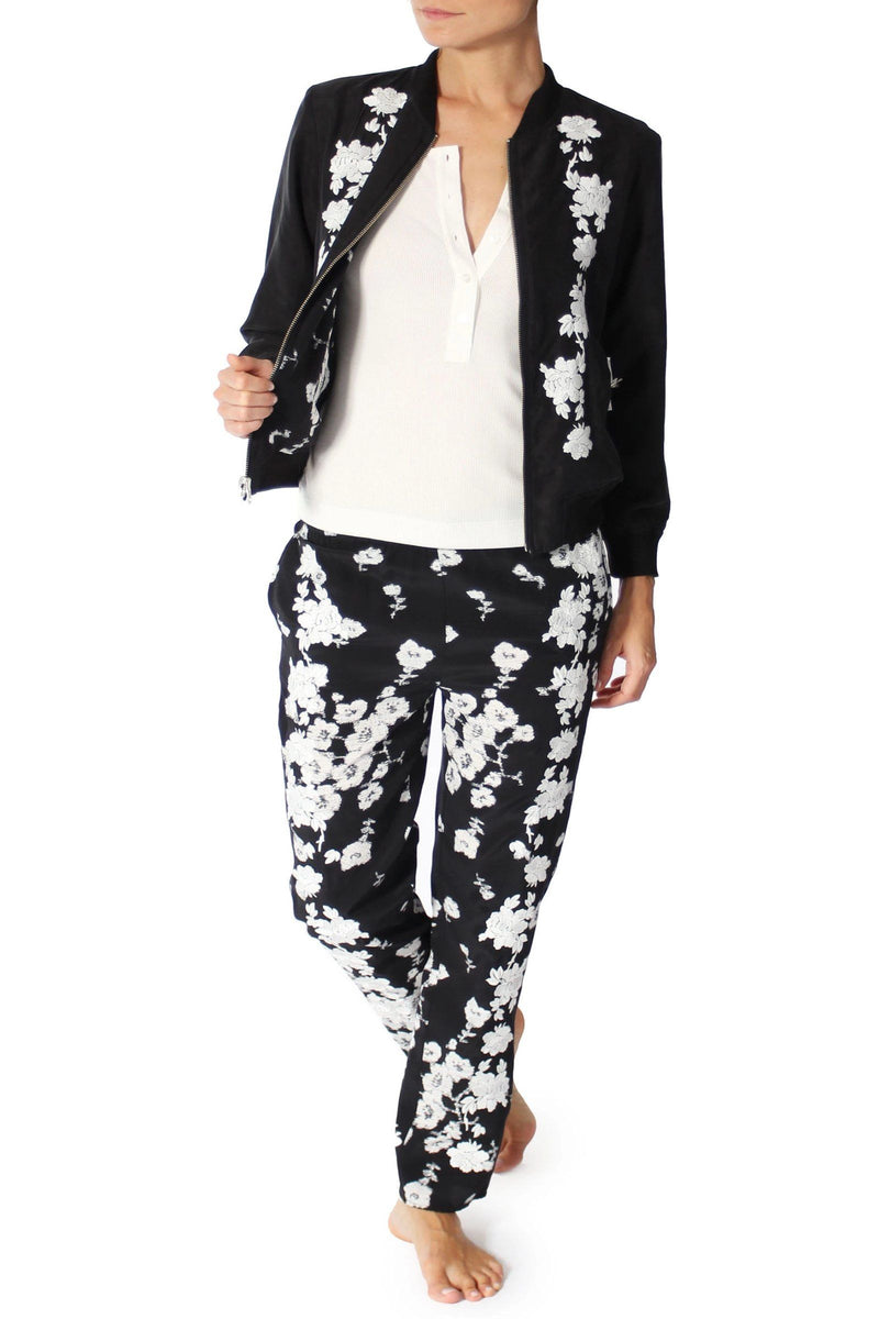 Small Flower Embroderied Pants Marie France Van Damme 0 Black White Small Flower