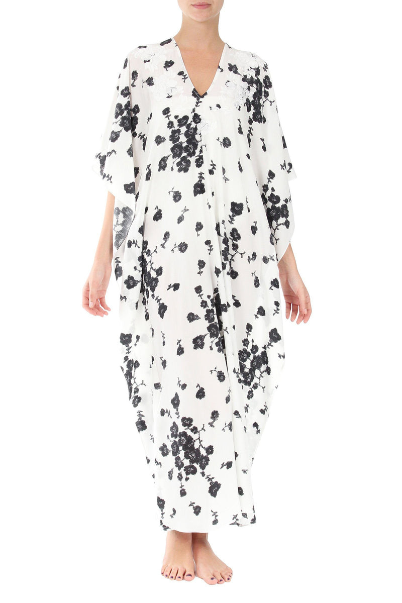 Small Flower Embroidered Boubou Marie France Van Damme One Size White Black Small Flower