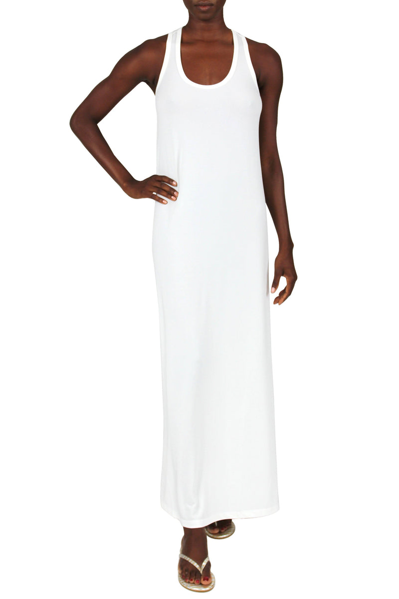 Solid Racer Back Dress Marie France Van Damme 0 White