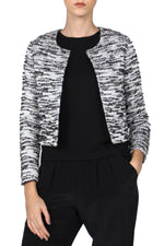 Tweed Metallic Jacket Outerwear Marie France Van Damme 0 White Black Silver