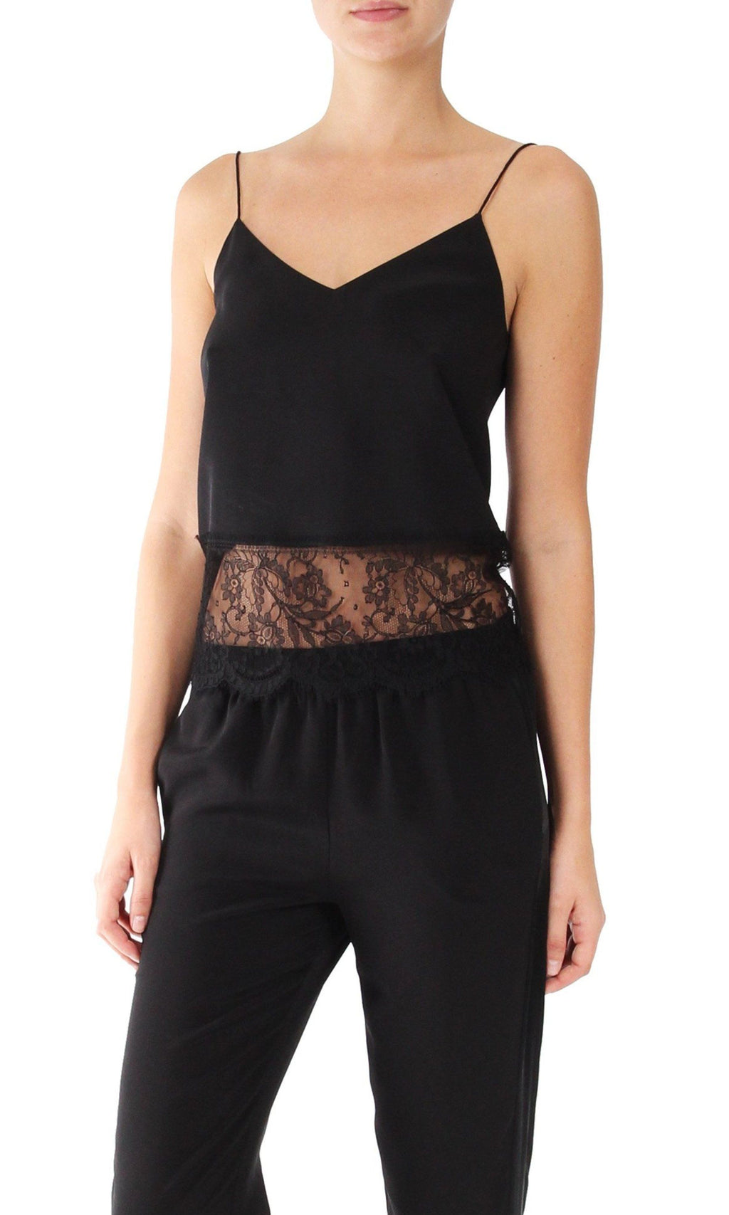 V Shaped Cami with Lace Tops Marie France Van Damme 0 Black