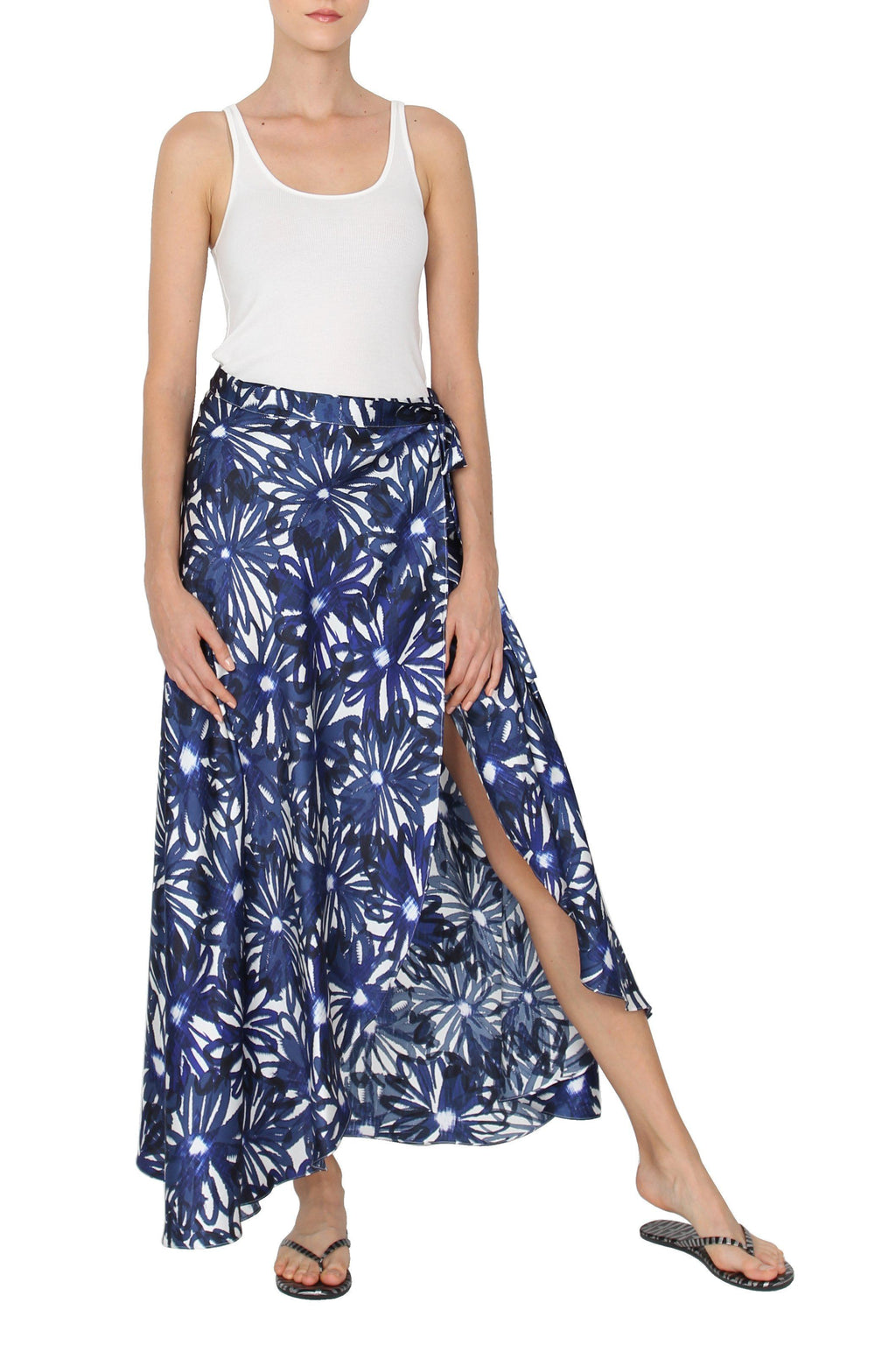 Wrapped Satin Skirt Marie France Van Damme 0 Blue Black Flower