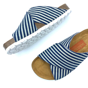 Una Cross-over Sandals | Japanese Indigo Stripe Denim